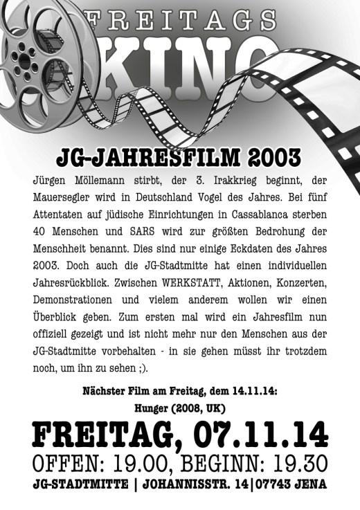 Flyer Freitagskino 2003
