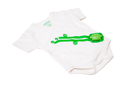 When your baby wears the Mimo Kimono with the little Turtle snapped into place, you can monitor her breathing and body motions on your smartphone app.