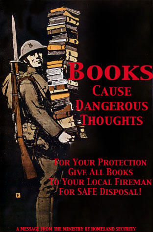 A propaganda poster encouraging the people to give up their books.