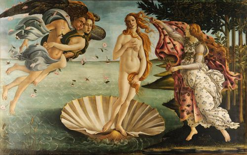 Sandro Botticelli, 『The Birth of Venus』 (c. 1486). Tempera on canvas. 172.5 cm × 278.9 cm (67.9 in × 109.6 in). Uffizi, Florence