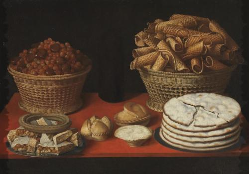 HIEPES, TOMÁS (Valencia, 1610 - Valencia, 1674) 『Sweetmeats and Dried Fruit on a Table』 1600 - 1635. Oil on canvas, 66 x 95 cm. Museo del Prado