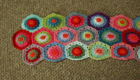 Top Right of Crochet Hexagon Blanket