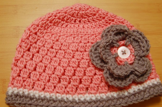 Pink, White, and Gray Crochet Hat with Flower