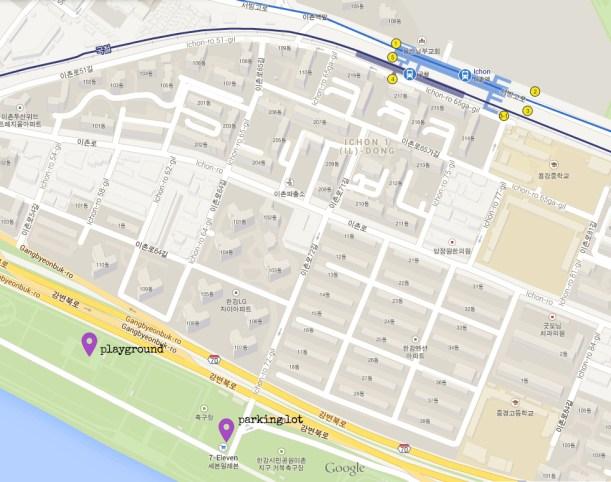 map to ichon hangang park
