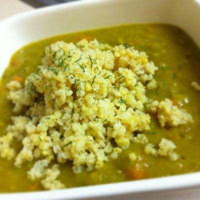 Split Pea Soup with Millet on JL goes Vegan