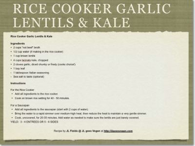 Rice Cooker Garlic Lentils & Kale 2