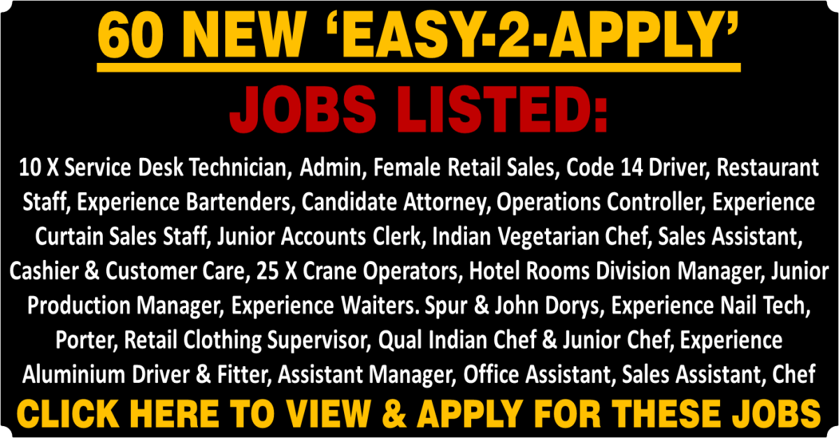 60 NEW 'EASY-2-APPLY' JOBS LISTED
