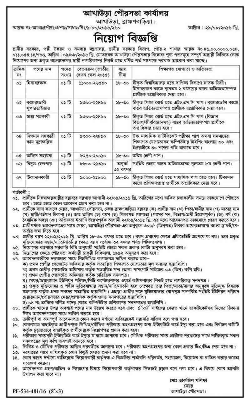 Akhaura Municipality Job Circular