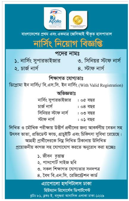 Apollo Hospital Job Circular 2016