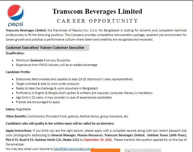 Transcom Beverages Limited Job circular 2016