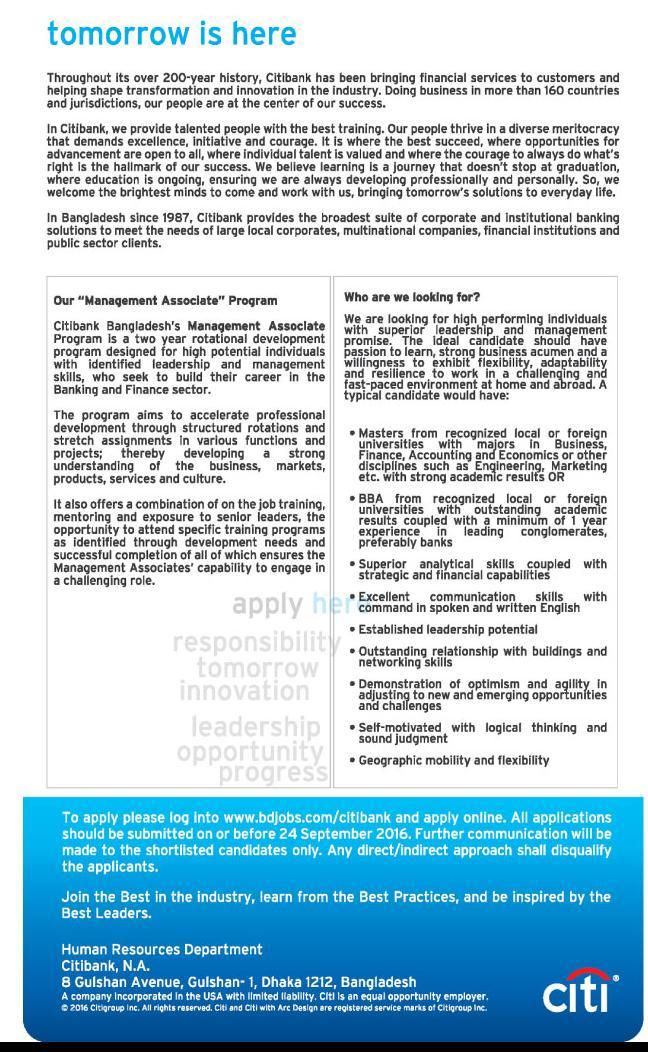 Citi Bank Management Associate Job Circular 2016