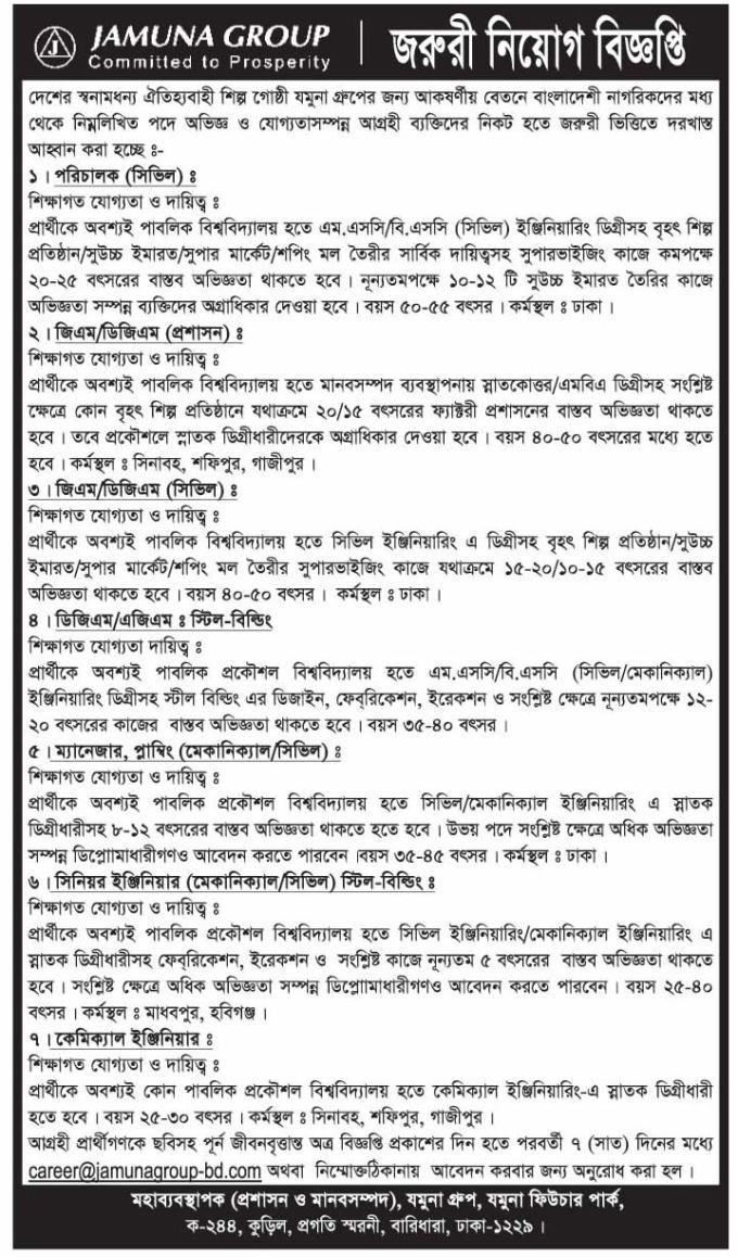 Jamuna Group Job Circular October 2016