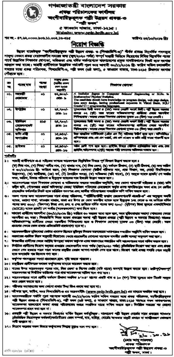PRDP BRDB 519 Posts Govt Job Circular 2016