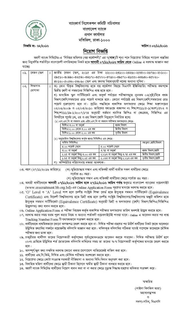 Agrani Bank Sr Officer 07 Posts Job Circular