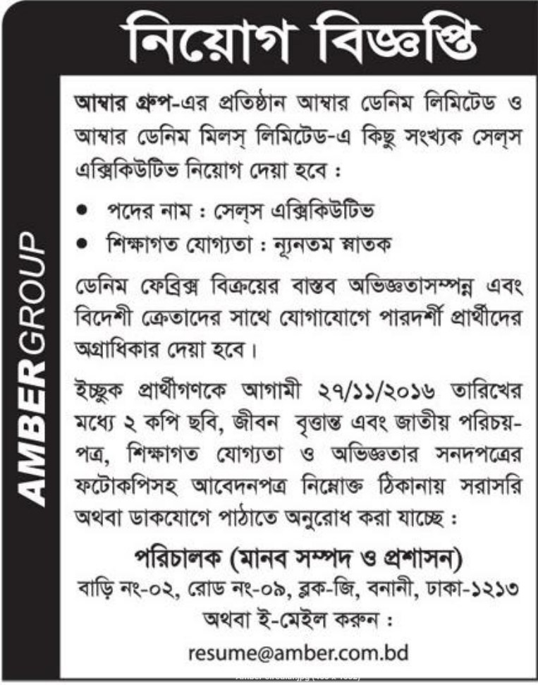 Amber Group job circular November 2016