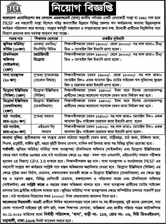 BASA job circular in November 2016