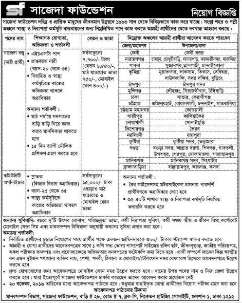 SAJIDA Foundation job circular in November 2016