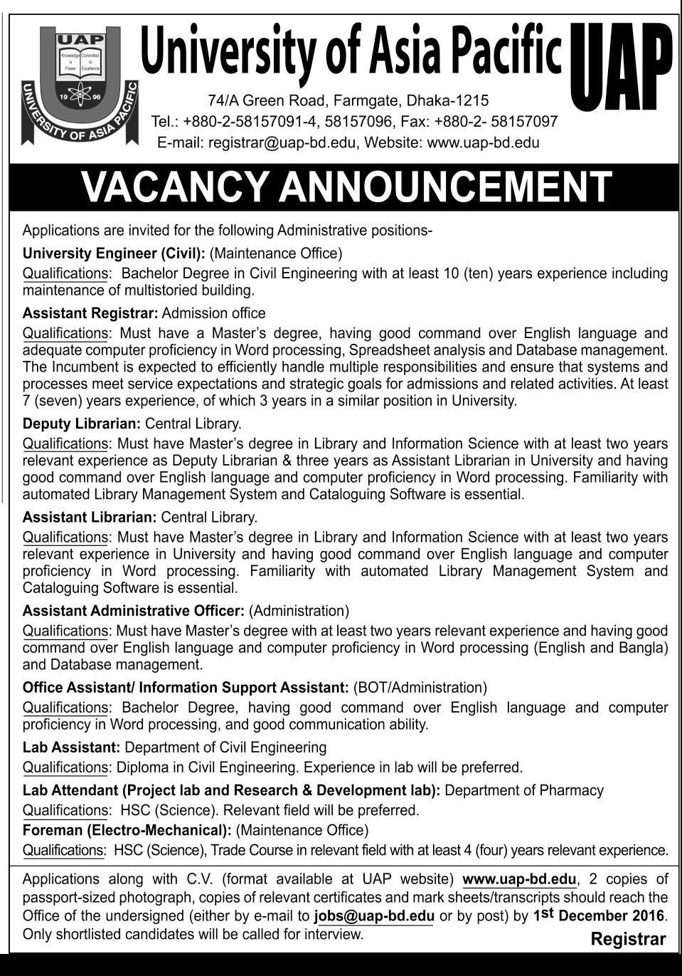 UAP job circular November 2016