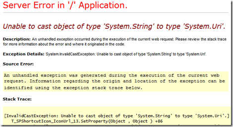 Unable to cast object of type 'System.String' to type 'System.Uri'
