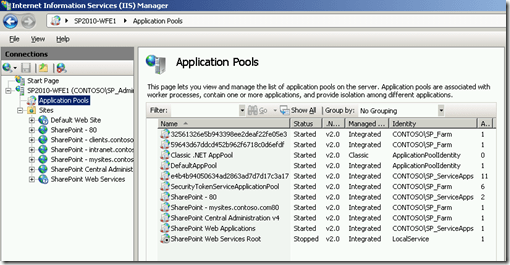 IIS Showing Application Pools