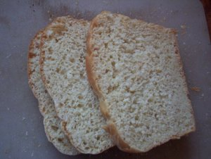Now cut three nice thick slices of home-baked bread. Toast them on one side only.