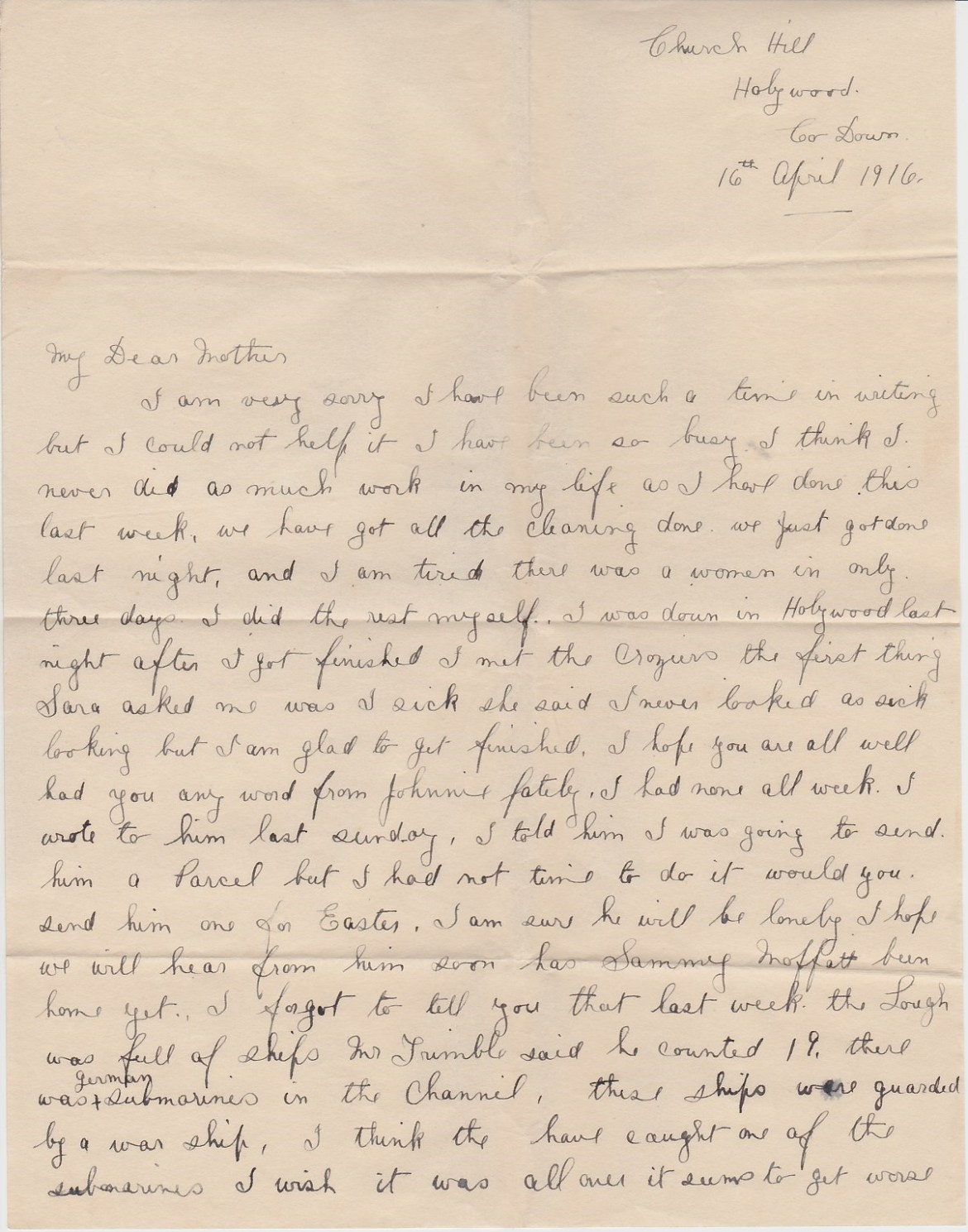 16 04 16 Church Hill Jeannie letter 01