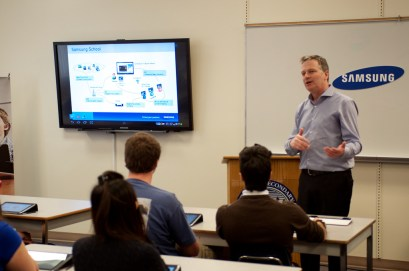 Philippe Lozier, Director of Business Solutions, Samsung Canada explains the program to students