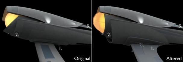 Comparison between my 3D meshes of an alternate USS Enterprise