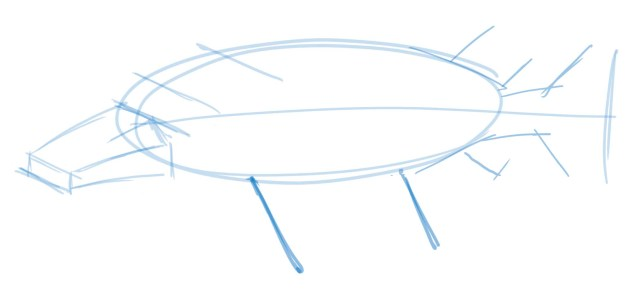 Draw lines from the dots indicating the length and angle of the fins.