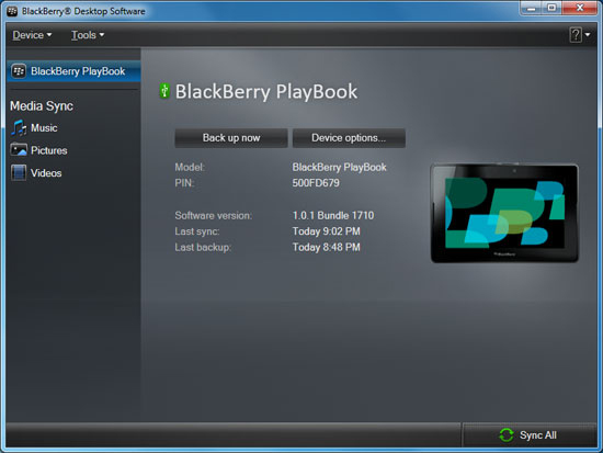 BlackBerry Desktop Manager with PlayBook connected