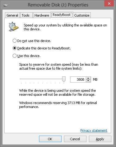 Windows 8 Readyboost Properties