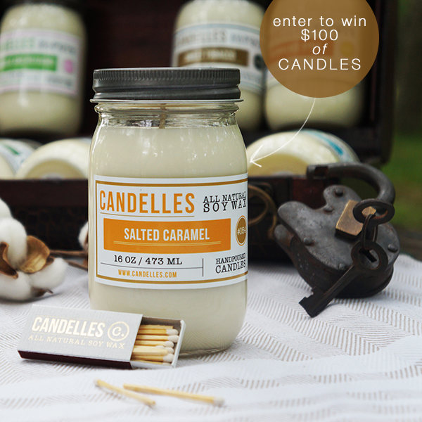 enter to win $100 of hand-poured soy candles from Candelles www.jojotastic.com #giveaway