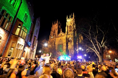 York Minster surrounded by people welcoming in 2013