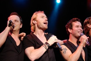 Boyzone, from left, Mikey Graham, Ronan Keating and Stephen Gately at Castle Howard, North Yorkshire.