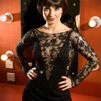 Actress Emma Barton playing Roxie Hart in Chicago at Bradford Alhambra