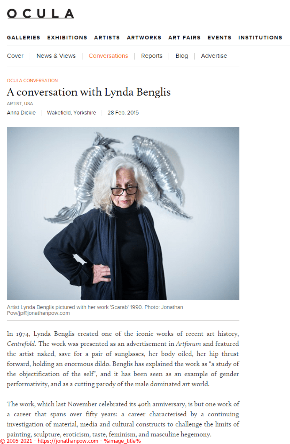Ocula - A conversation with Lynda Benglis