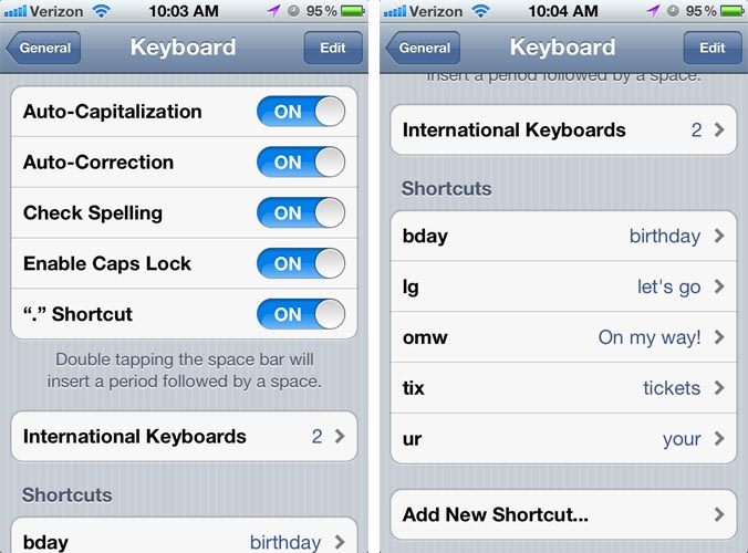 Keyboard Settings Screen
