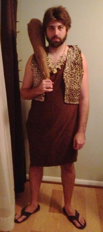 Christopher dressed as a caveman for Halloween 2012.