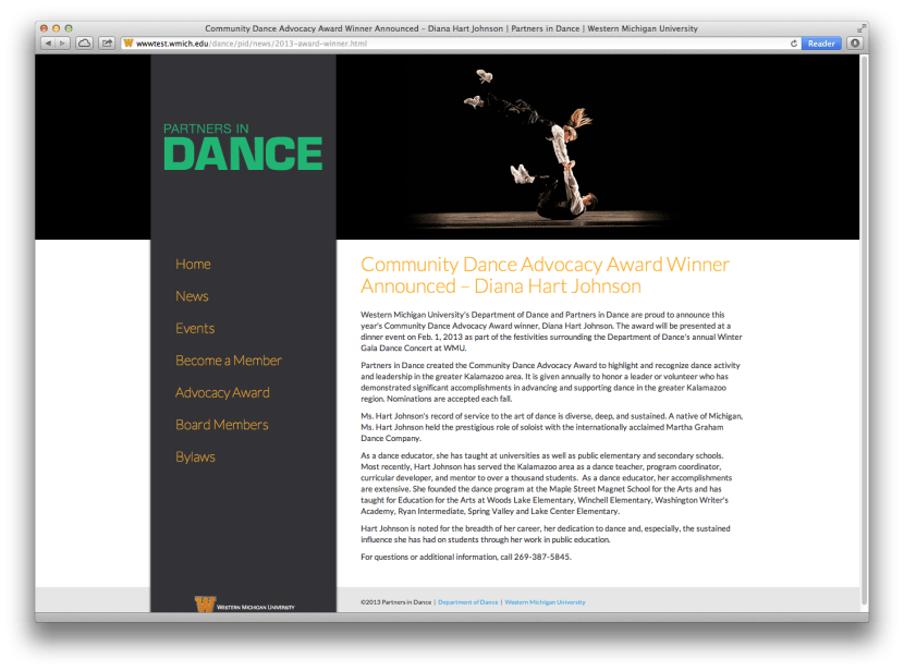 Screenshot of WMU Partners in Dance website.