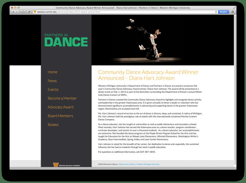 Screenshot of WMU Partners in Dance website.