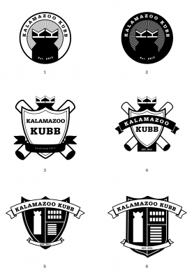 The six logos presented to the Kalamazoo Kubb club members.