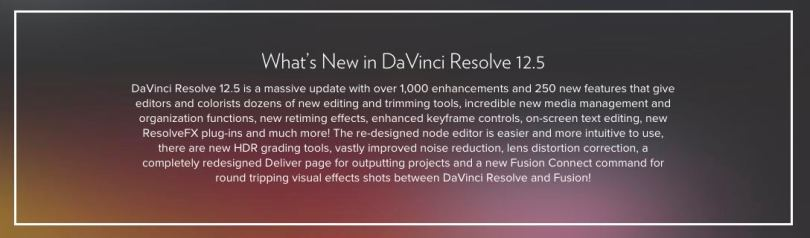 New features in Resolve 12.5