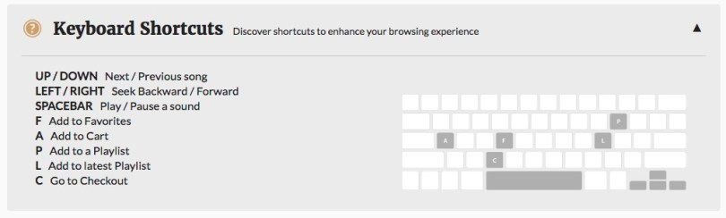 premiumbeat keyboard shortcuts