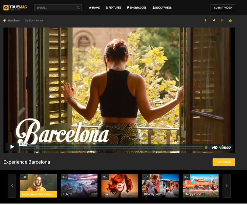 video portfolio site
