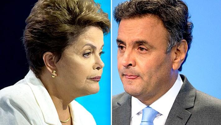 Dilma e Aécio durante debate realizado pela TV Record, em São Paulo, na noite deste domingo - Foto - Andre Penner-AP Photo