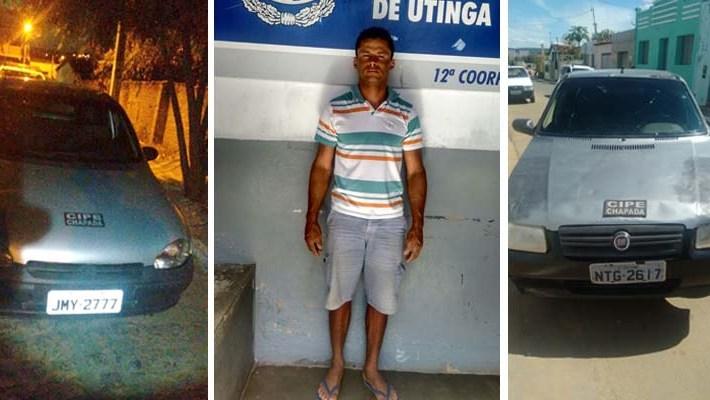 Carros foram apreendidos em Utinga e em Ruy Barbosa - FOTO Montagem do JC - CIPE