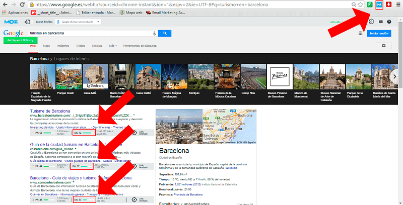 MOZBar - ¿Cómo buscar palabras clave para Google?