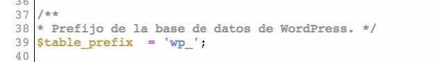 Cambia el prefijo de las tablas de la base de datos por defecto