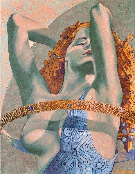 Josef Achrer Hadí žena 53cm x 67 cm