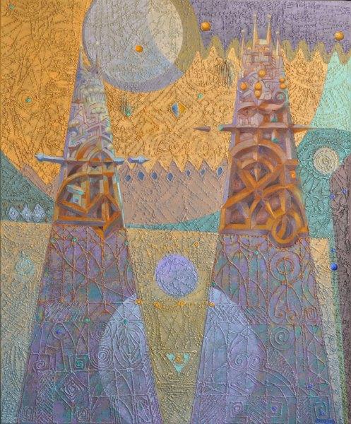 Josef Achrer Sváteční věže 122 cm x 142 cm